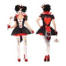 VASHEJIANG Donne di Età Rosso Queen di Cuori Costume Sexy Alice nel Paese Delle Meraviglie Queen di Cuori Costume di Carnevale di Halloween Uniforme
