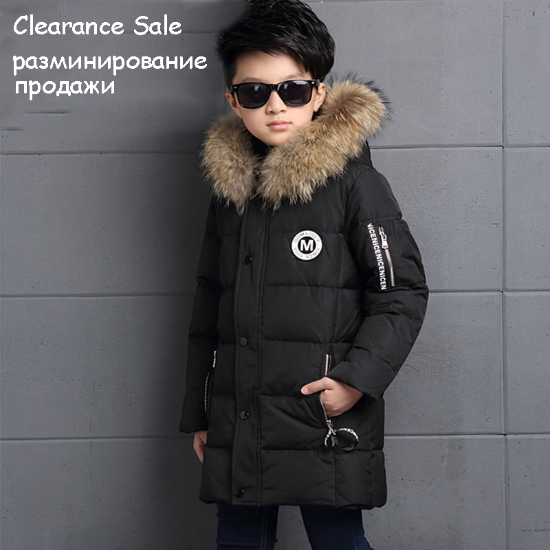 6-12Y Fashion Winter Down Jacket For Boy Fur Hooded Thicken Warmly Kids Winter Parkas Coat Children Outerwear