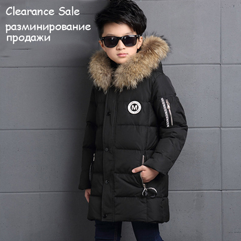 6-12Y Fashion Winter Down Jacket For Boy Fur Hooded Thicken Warmly Kids Parkas Coat Children Outerwear - discount item  48% OFF Children's Clothing