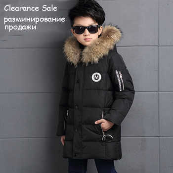 6-12Y Fashion Winter Down Jacket For Boy Fur Hooded Thicken Warmly Kids Winter Parkas Coat Children Outerwear - DISCOUNT ITEM  50% OFF All Category