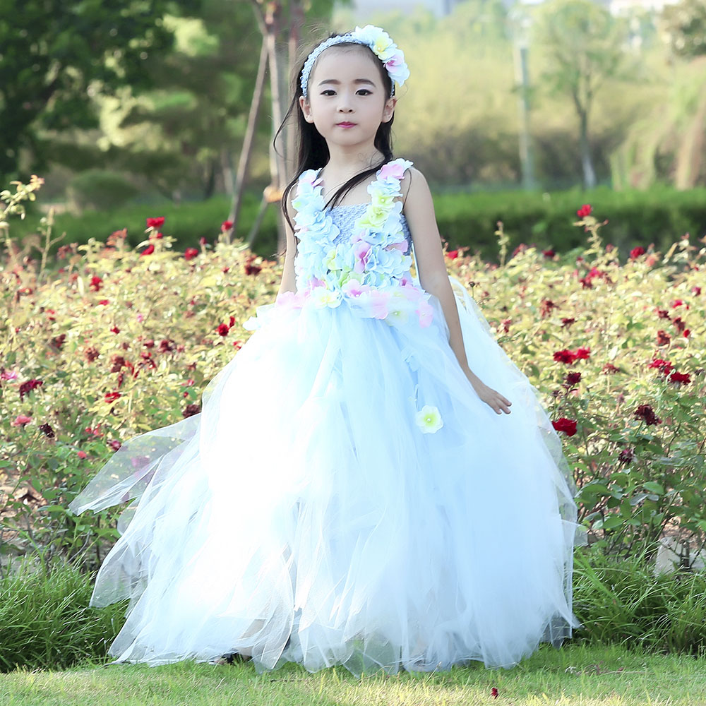 Hydrangea Ankle Length Toddler Girl Wedding Party Dress Blue Princess Flower Girls Clothes Kids for Weddings Junior Girls Dress (2)