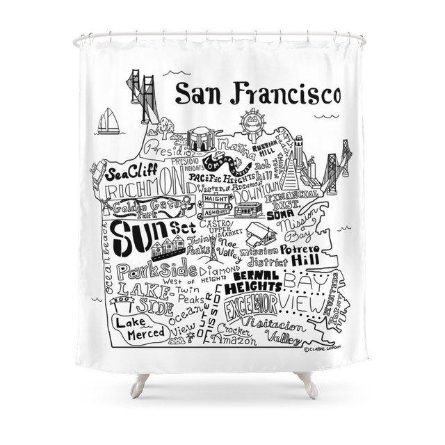 San Francisco Map Illustration Shower Curtain Set Waterproof Fabric Bath For Bathroom With Non Slip Floor Mat