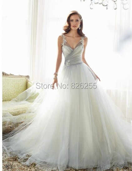 Love Story Fashion Sweetheart Ball Gown Wedding Dresses Bridal Gowns With Light Grey Tulle Nw0243