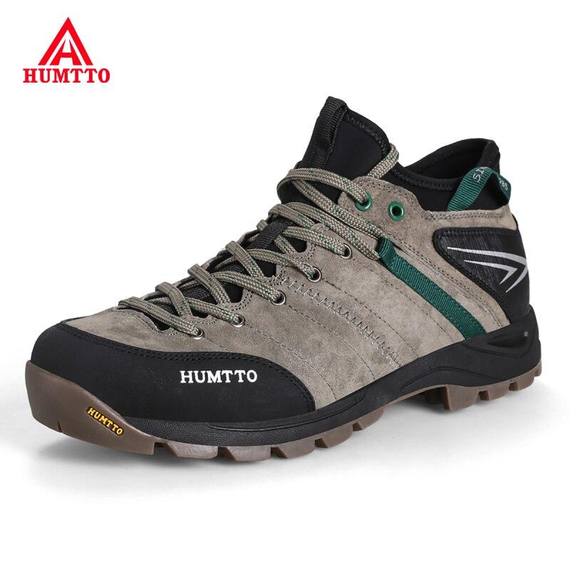 En plein air professionnel hommes chaussures de montagne en cuir véritable homme chaussures de randonnée respirant chasse tourisme escalade Trekking chaussures