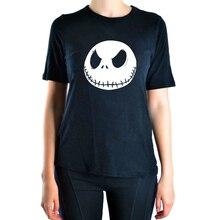 2016 Summer Jack Skellington Evil Smile print t shirt Women top harajuku tee shirt funny brand hiphop femme black cotton hipster