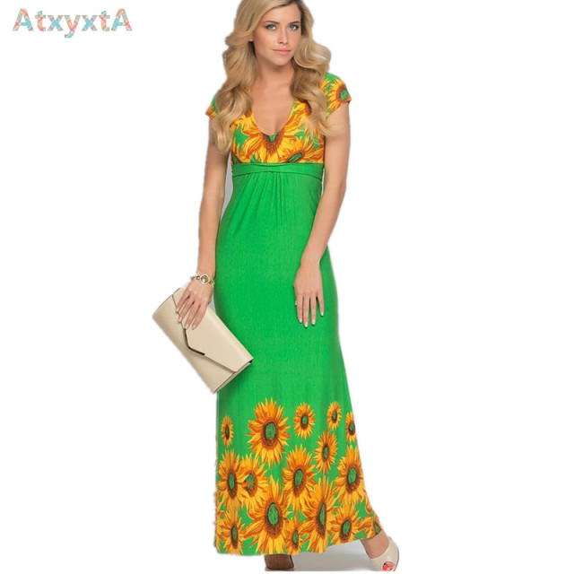 Blue Bohemian Floral Sunflower Dress Clothing Women Retro Long Knitted Summer Dresses 2017 New Big Size Clothes XXL XXXL 5XL 4XL