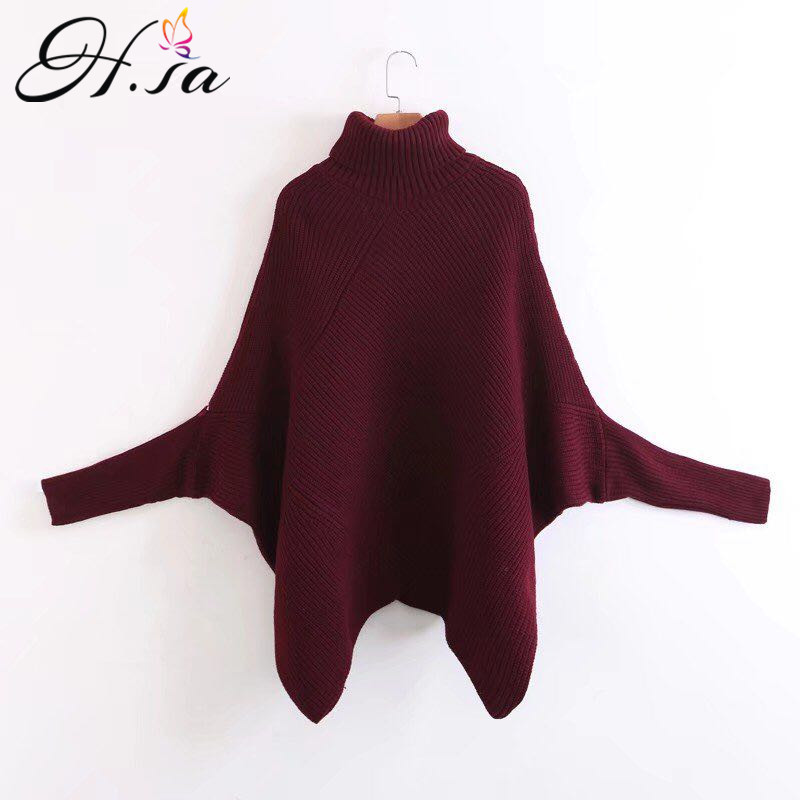 H.SA Women Autumn WinterTurtleneck Sweaters Batwing Sleeve Oversized Sweater Poncho Pullover And Sweater Jumpers Irregular Pull