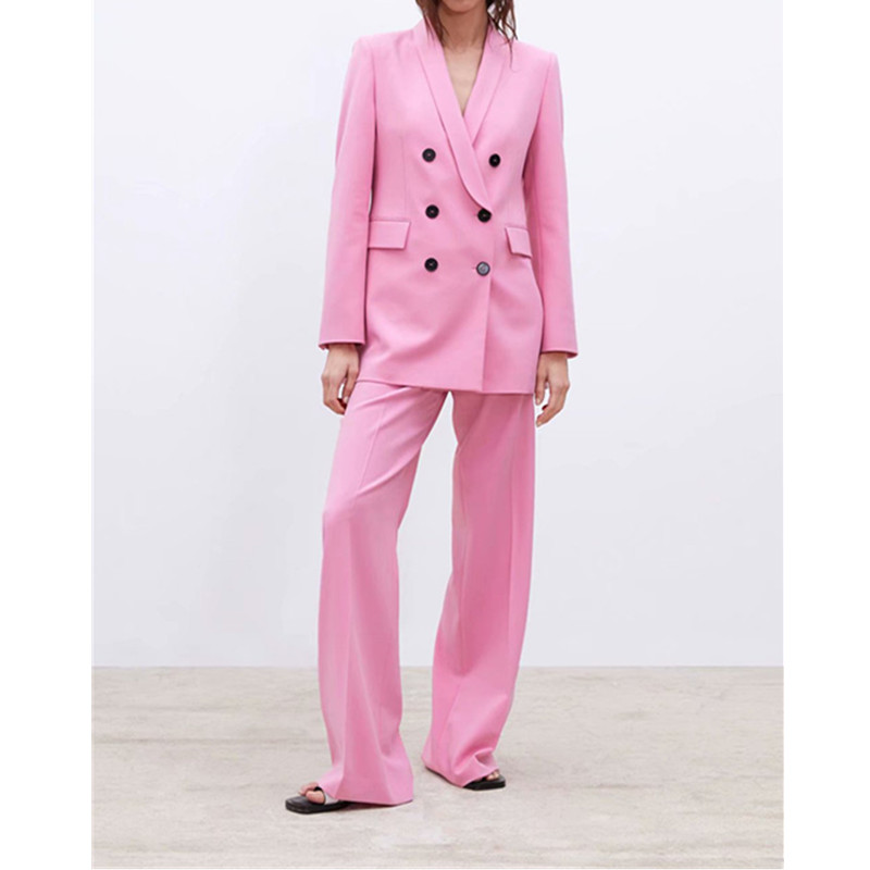 Pink Double-breasted V-neck Suit Two-piece Suit (jacket + Trousers) Women's Fashion Casual Blazer With Trousers Set Custom Made