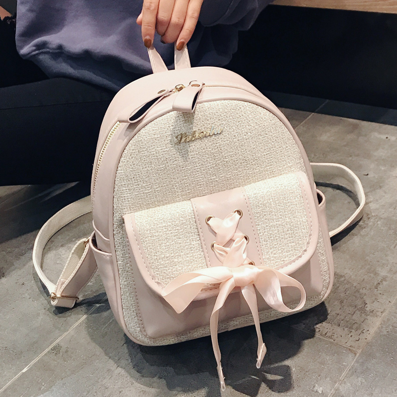 Beibaobao Fashion Simple Preppy Style Small Backpack for Teenage Girl Casual Schoolbag Silk Bow Design Shoulder Bag 3