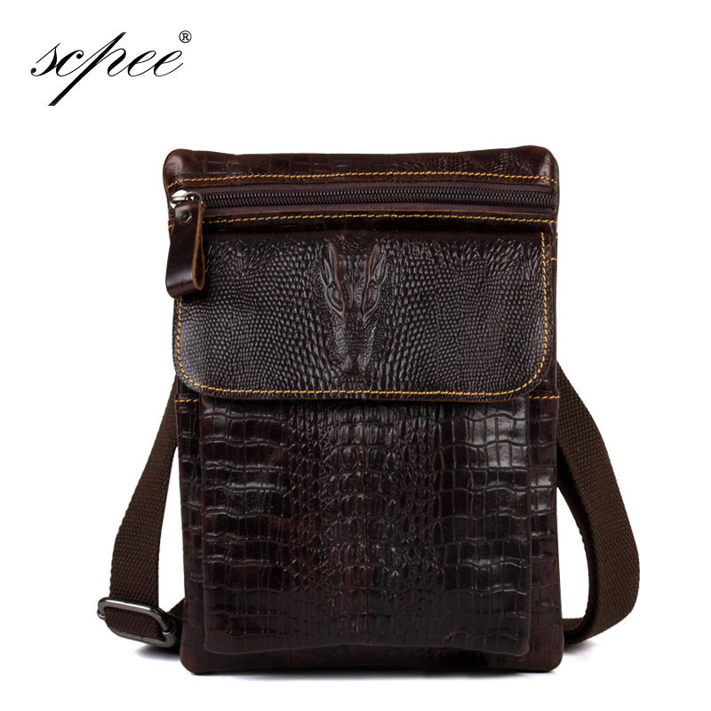 Scpee bolso de los hombres del patrón del cocodrilo bolsas de mensajero de cuero