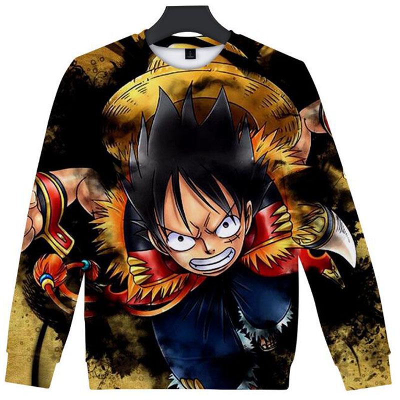 New Fashion Crewneck Sweatshirt Anime One Piece Luffy Ace Zoro Sabo Law Nami Dracule Mihawk Japanese Streetwear Hip Hop Hoodie