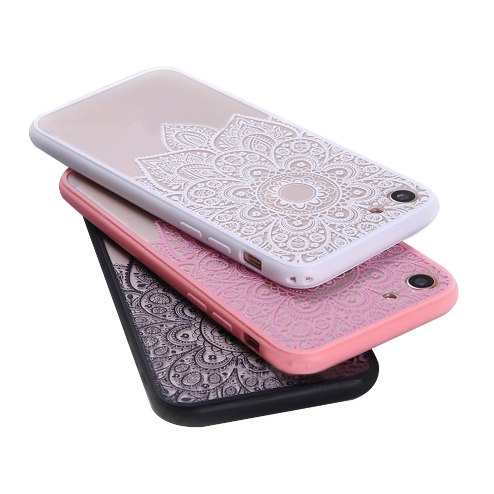 2018 New Japanese & Korean Style Transparent Lace Pattern Phone Case Phone Protective Cover for iPhone7plus
