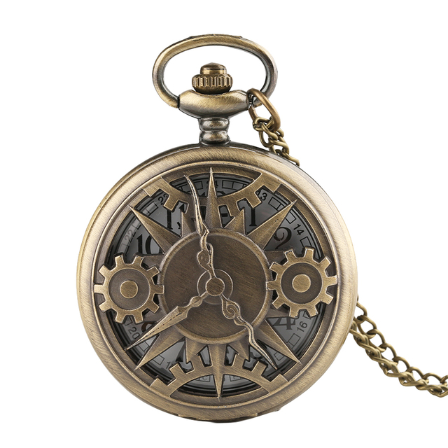 Fob Pocket Watches With Chain Quartz Necklace Gear Hollow Analog Unisex Watch Dr