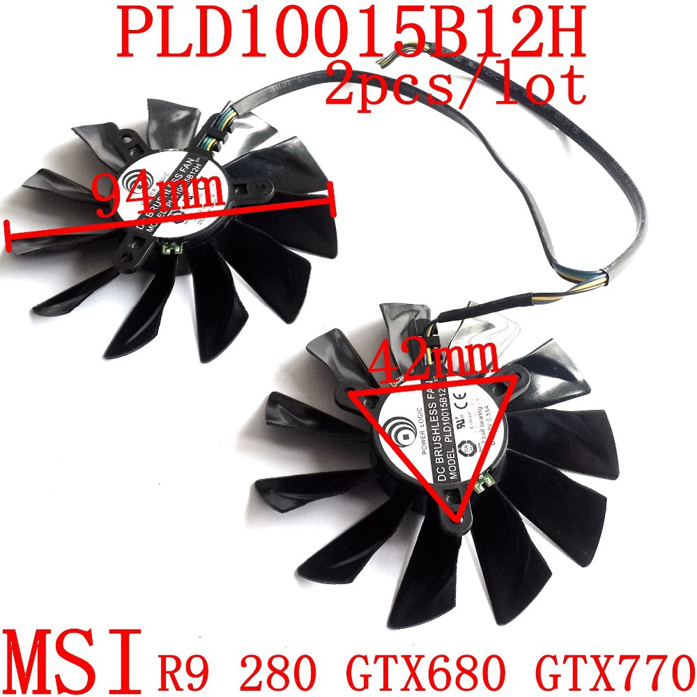 Free Shipping 2pcs/lot PLD10015B12H DC12V 0.55A for MSI GTX680 GTX770 R9 280X R9-280X R9-270X R7-260X Graphics card fan free shipping t128015su msi r4770 hd4770 4pin pwn graphics card fan