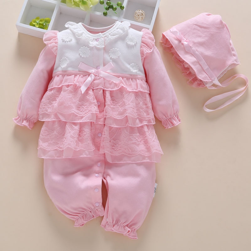 New Born Baby Girl   Rompers   Lace Outfit Clothes Set Age 0-18M Clothes Baby Girl Winter Clothes Baby Jumpsuit