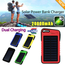 20000 mah Dual-USB Waterproof Solar Power Bank Battery Charger For Iphone Powerbank  For All Smartphones Dropshipping  Nov.5 waterproof solar power bank real 20000 mah dual usb external polymer battery charger outdoor light lamp powerbank universal
