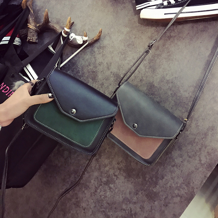 TINTON 2018 Korean version of the casual wild shoulder bag hand bag purse wallet two-color splicing mini small square bag hot korean women s bag 2018 new wave korean version of the wild side small bag retro simple messenger messenger bag