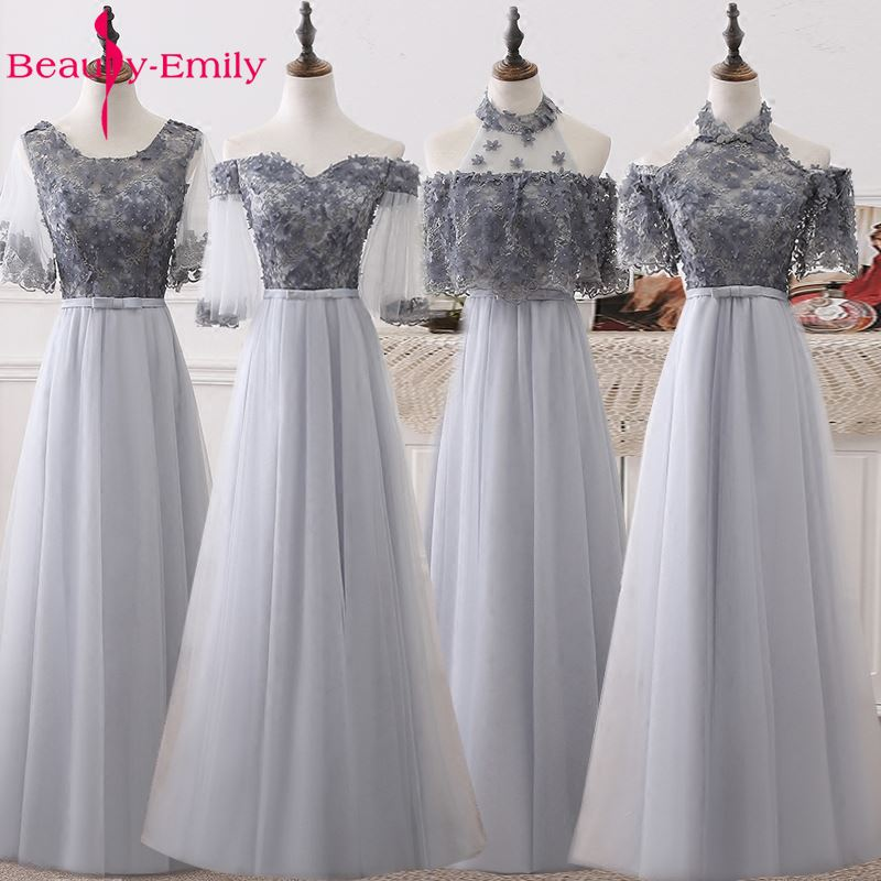 Beauty Emily Long Elegant A-line Grey   Evening     Dresses   2019 Half Sleeve Appliques Beads Wedding Party Occasion Prom   Dresses
