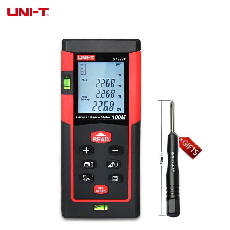 ФОТО UNI-T UT393+ Handheld 100m Digital Laser Distance Meter Range Finder Measure Distance Area Volume Self-calibration Level Bubble