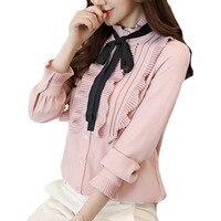 Women 2018 Fashion Pink White Ruffles Chiffon Blouse Long Sleeve Bow Tie Office Ladies Shirt Elegant