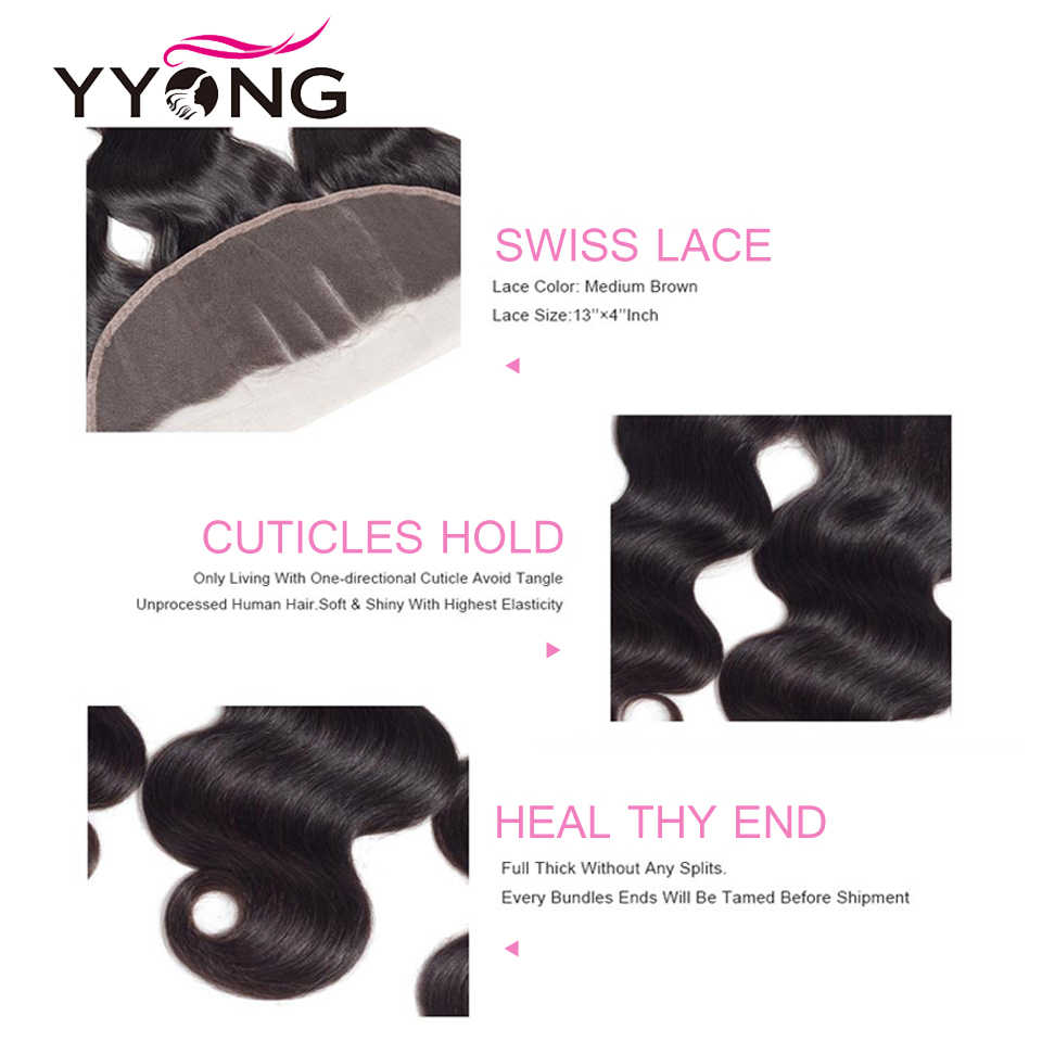 Yyong Hair Body Wave Bundles With Frontal Closure Ear To Ear Lace Frontal With Bundles 4 Bundles Brazilian 100% Remy Human Hair