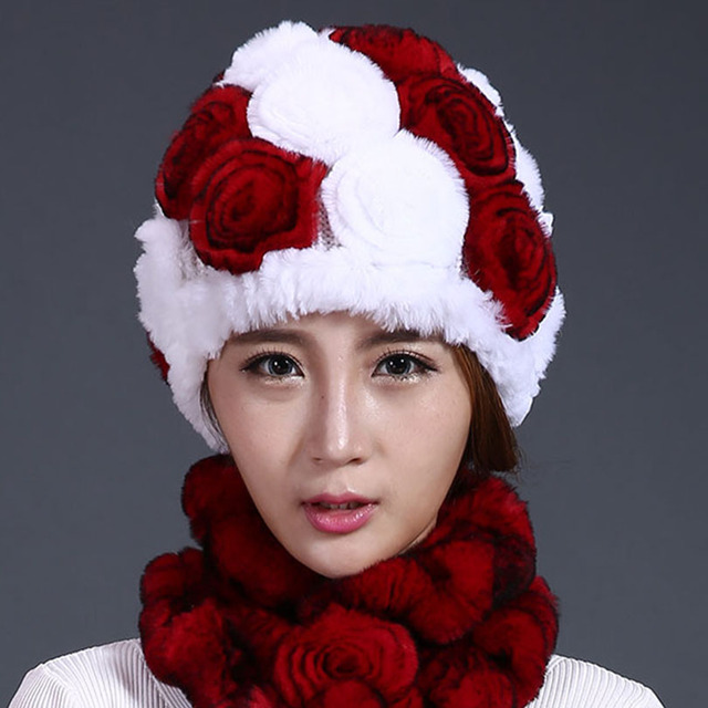Real Rex Rabbit Fur Hat For Women Floral Knitted Beanies Headwear Hats 2016 New Fashion Warm Female Genuine Fur Caps Winter Hat
