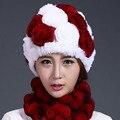 Real Rex Rabbit Fur Hat Para la Mujer Floral de Punto Gorros Sombreros sombreros 2016 Nueva Moda Cálida Genuina Mujer Gorros de Piel De Invierno Sombrero