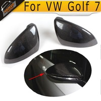 Carbon Fiber Replacement Mirror Covers Side Wing Caps Fit For VW Golf 7 VII 2014