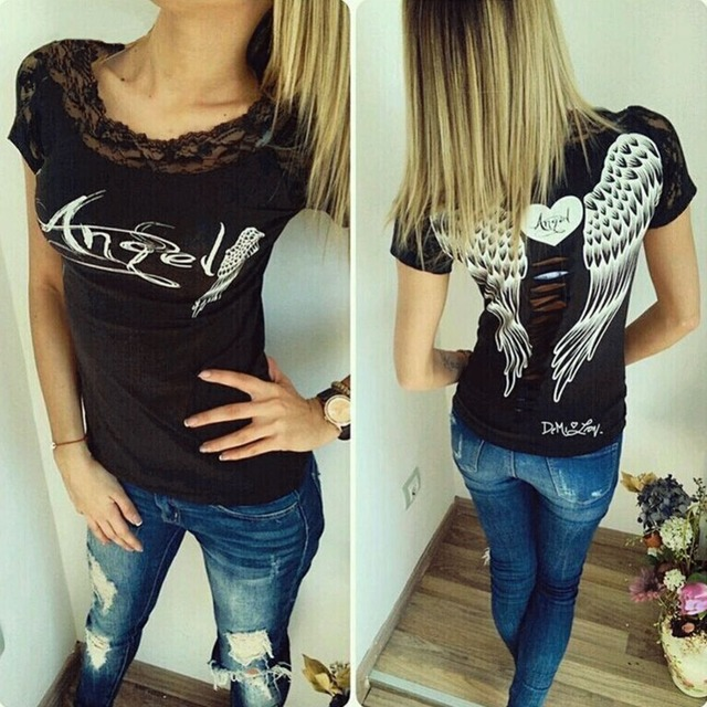 Women's T shirt Back Hollow Angel Wings T-shirt Tops Summer Style Woman Lace Short Sleeve Tops T shirts Clothing 4