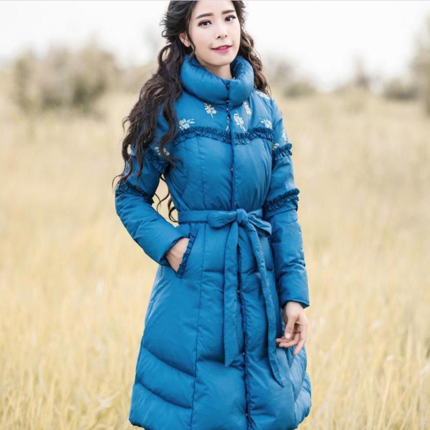 Broderie Blue Canard Mince Poche Support red 3xl Floral Parkas Épaissir D'hiver Femmes Taille Plus Dame Manteau Veste La Outwear Col Blanc q4pHwx0A