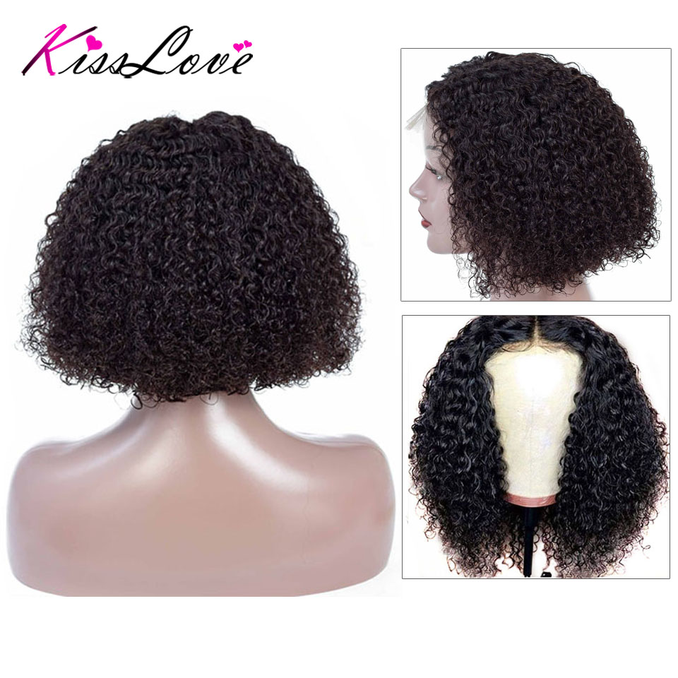 Short Curly Lace Front Human Hair Wigs Pre Plucked With Baby Hair Brazilian Remy Hair Bob Lace Front Wigs For Women Kiss Love