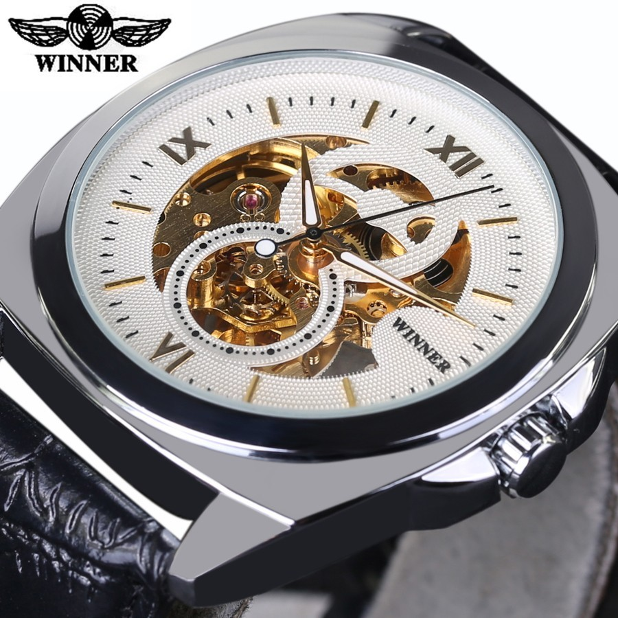 Mechanical Watches Men Waterproof Business Male Wrist Watch Automatic WINNER Square clock Relogio Automatico Masculino Gift t winner men mechanical wrist watch classical skeleton dial fashion automatic watches modern waterproof clock relogio gift