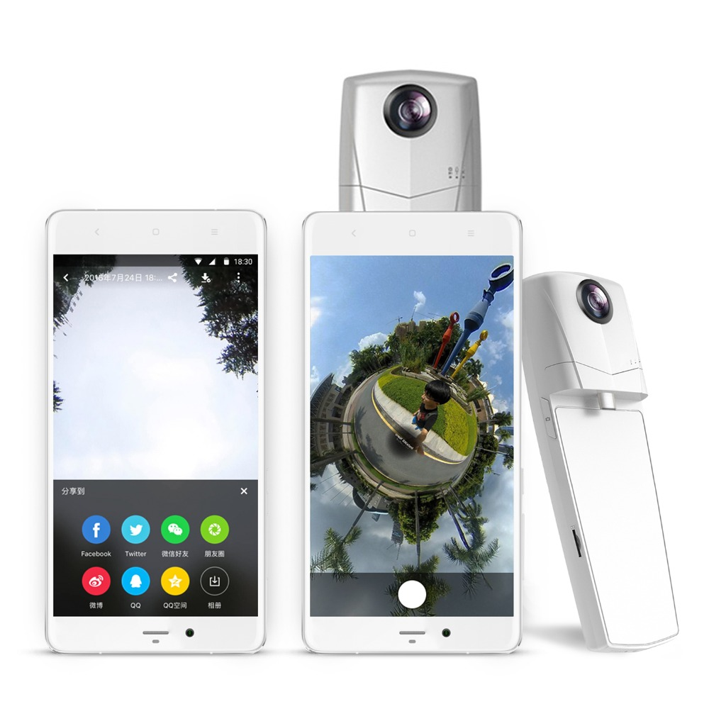 Mini VR Video Camera 360 Degree Panoramic Dual Wide Angle Fisheye Lens for iPhone Andriod type-c models pk insta 360