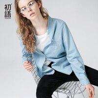 Touyouth 우아한 블라우스 셔츠 여성 긴 소매 편지 자수 스탠드 칼라 하나의 버튼 캐주얼 팜므 작업 Blusas 셔츠