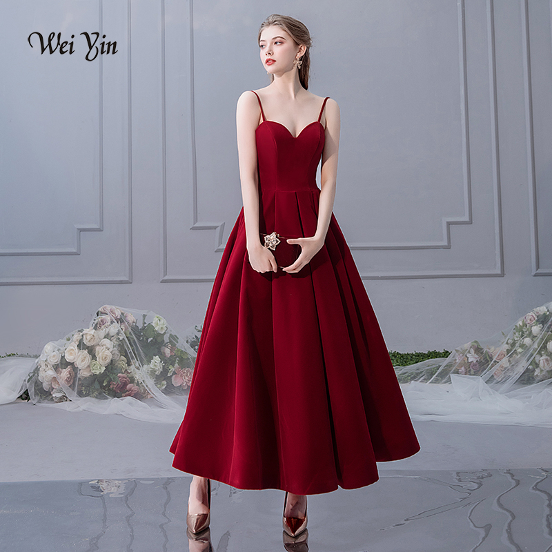 weiyin Elegant Wine Red Long Dresses Evening 2019 Formal Evening Gown For Women Sweetheart Velour pretty Cheap Lady Party Dress