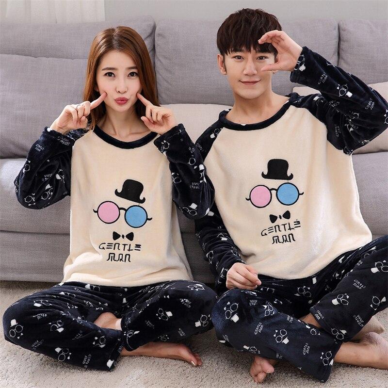 New Fashion Winter Women And Men Pajamas Set Night Flannel Long-Sleeve Cartoon Lovers Homewear Couples Matching Adult Pajamas