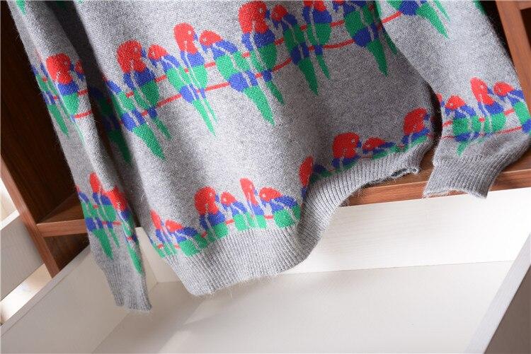 Grey Viscose M Oiseau Épais Nouveauté Détail Mélange Mode Chandail Pull De Tricot Coton Femmes Gros En Oneck aqqgx5nO