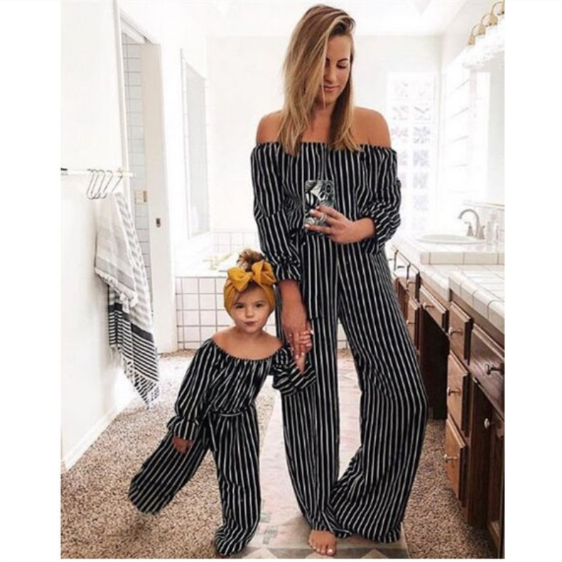 Striped Overall Pants Mother Daughter Dress Mommy And Me Clothes Family Matching Outfits One-piece Mom Mum Baby Girls Trousers