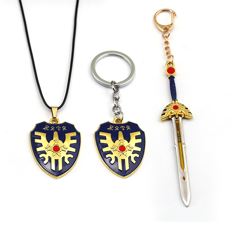 New Game Doragon Warrior Keychian Dragon Quest Loto Sword Shield Metal Key Chain Ring Men Car Women Toy Gift Jewelry Chaveiro image