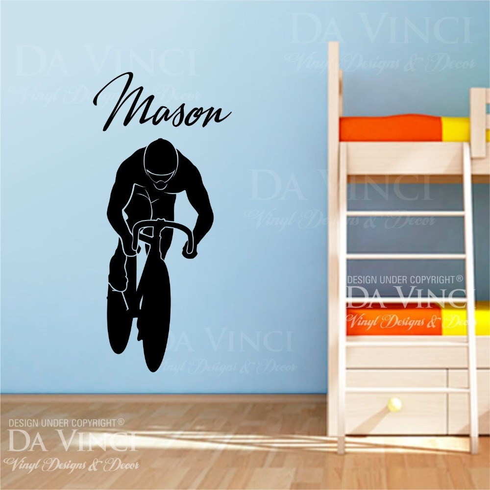 Bicycling Cycling Biking Decal Custom Name Wall