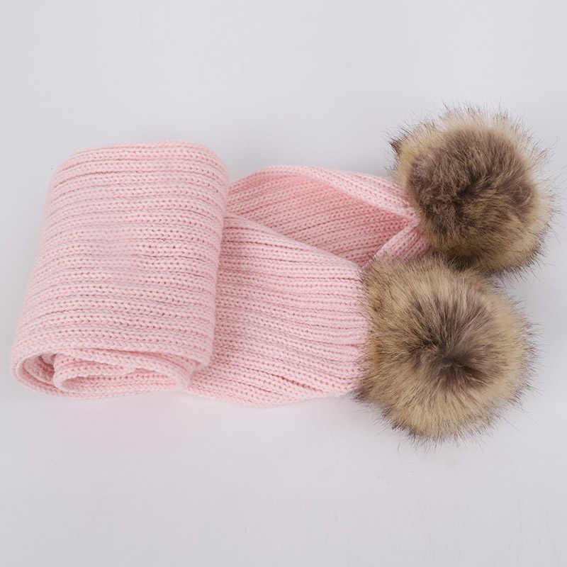 2018 Venta caliente niños pompón tejido Beanies sombrero bufanda 2 piezas conjunto Otoño Invierno niño niña lana suave gorra bufandas para bebés y niños