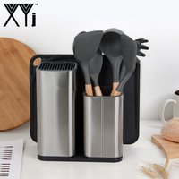 XYj Silicone Kitchenware Set BPA Free Silicone Natural Acacia Hard Wood Handle Kitchen Cooking Tool Block Stand Knife Holder