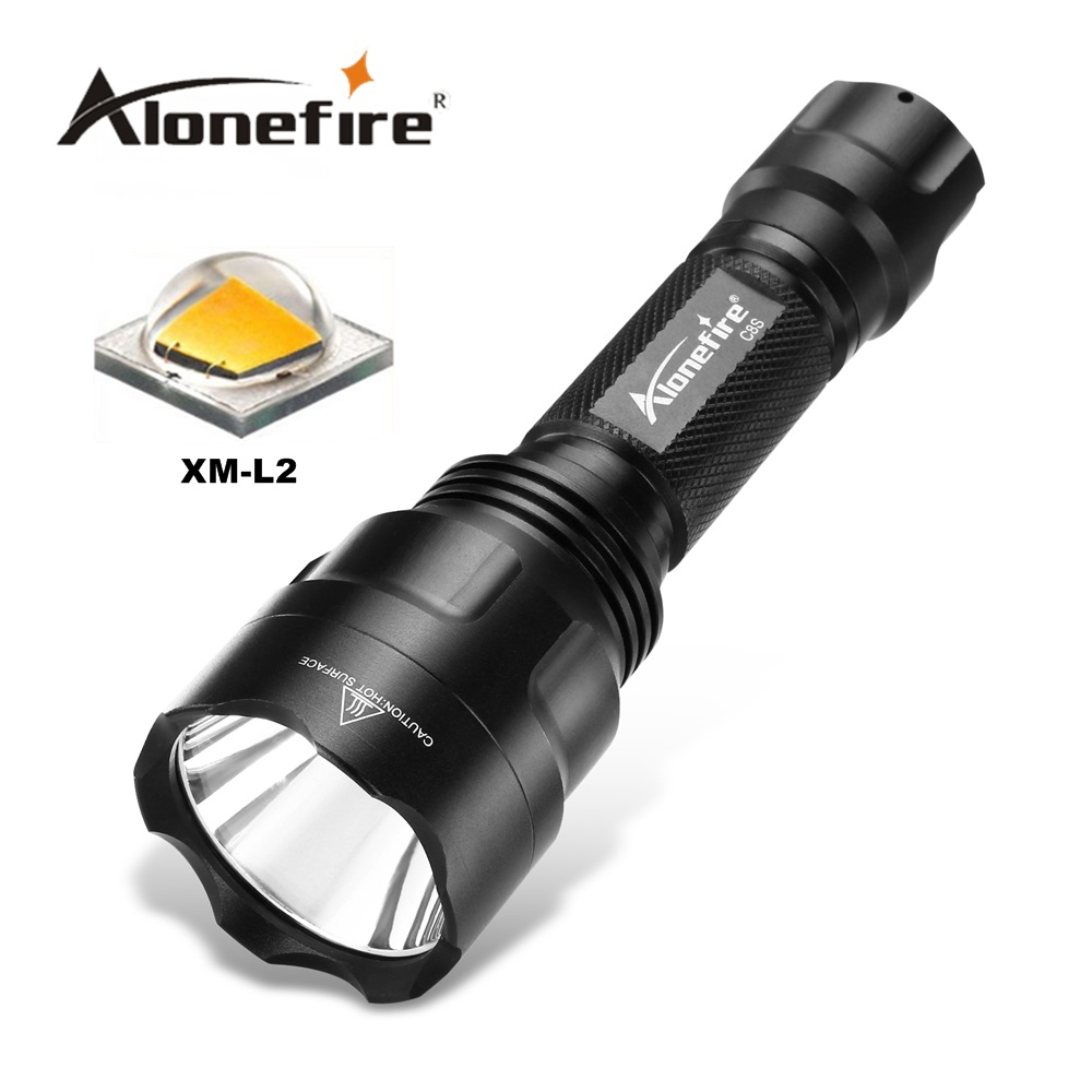 ALONEFIR <font><b>CREE</b></font> C8 XML-T6 <font><b>L2</b></font> <font><b>U3</b></font> <font><b>led</b></font> flashlight T6 Night Hiking Torch Camping Fishing 18650 Rechargeable Waterproof flash light image