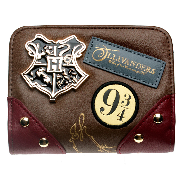 Women Diagon Alley Wallet Metal badge Brown/date red patch Printed embroidered Wallet Gift for Girls Wallet DFT-6716
