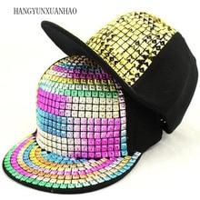 Personality Sequins Baseball Caps Flat Brim Outdoor Hats Girls Boy Bling Punk Snapback Cap Jazz Rock Cool Hip Hop