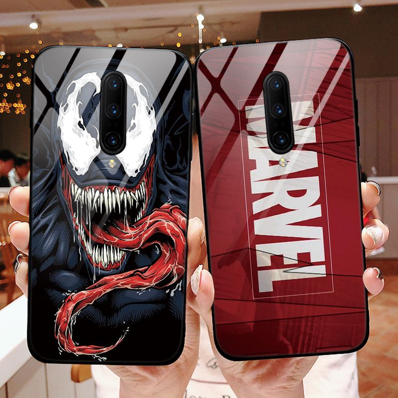 Marvel The Avengers Tempered Glass Case For OnePlus 7 Pro 7Pro Luxury Fashion Cool Cover For OnePlus 6 Case Capa Full Protection