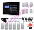 LCD screen touch keypad smart quad-band GSM alarm system with 10 door magnet+7 PIR sensor,home office secuirty alarm system