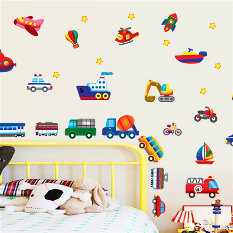 cars train motor bike ship transportation wall stickers for kids room decoration decals children wall art car sticker 7212 40