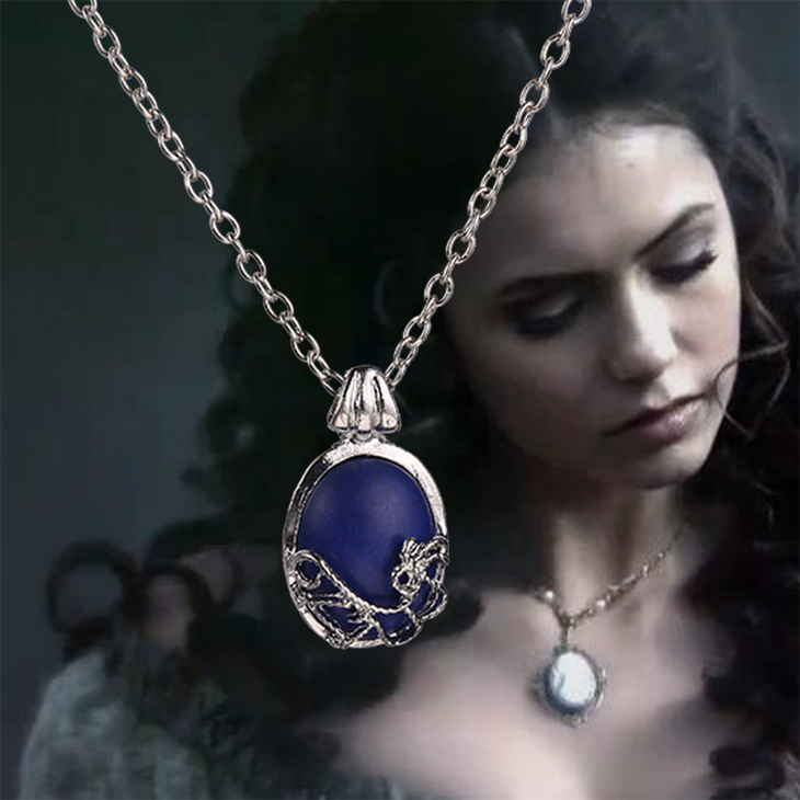 The Vampire Diaries Necklace Vintage Katherine Blue Stone Pendant Dainty Fashion Popular Movie Jewelry Cosplay Women Wholesale