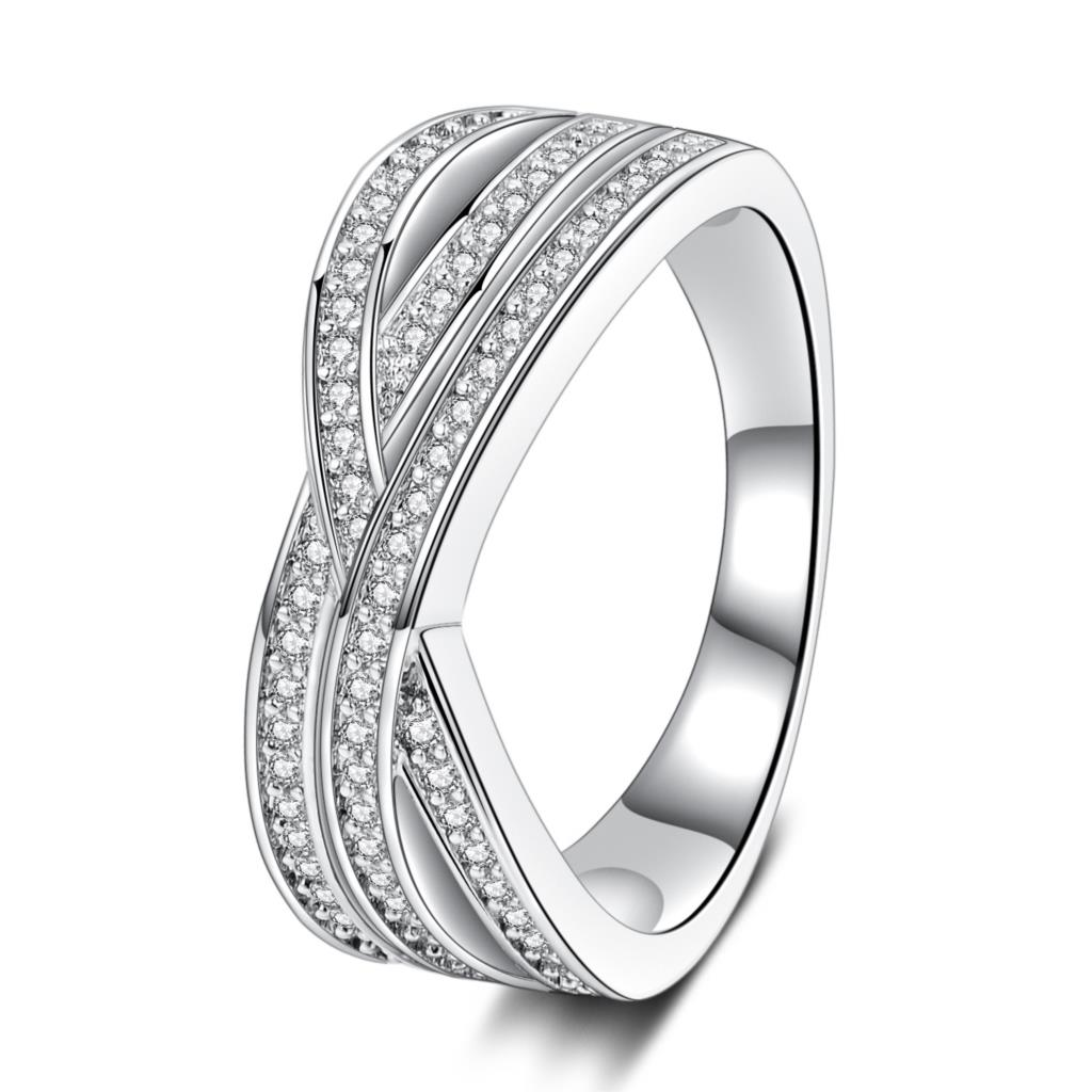2018 cross finger ring for lady paved cz zircon luxury hot Princess women Wedding Engagement Ring main stone like bright star